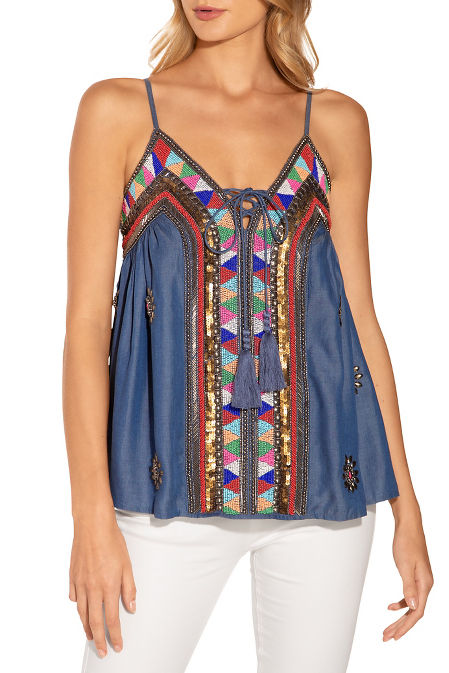 Denim beaded blouse image