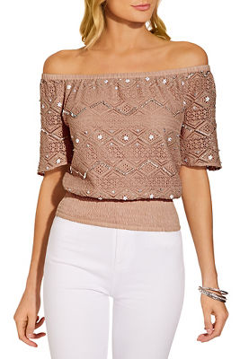 Off the shoulder embellished crochet blouse