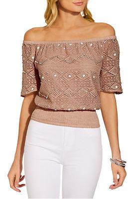 off the shoulder embellished crochet blouse