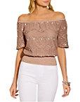 Off The Shoulder Embellished Crochet Blouse Photo