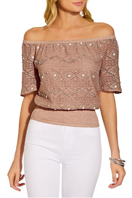 Off the shoulder embellished crochet blouse image