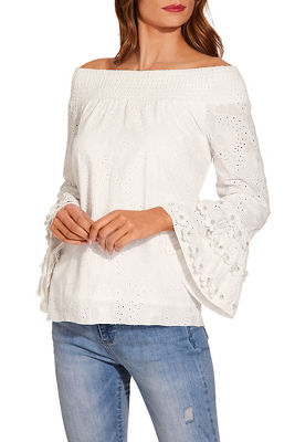 a4031b0cf69880 Off the shoulder lace embellished sleeve top