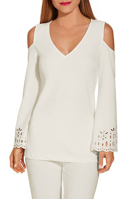 Beyond travel™ cold shoulder laser cut top