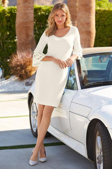 Beyond travel™ eyelet sleeve dress image