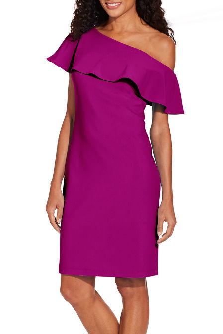 Beyond travel™ ruffle one shoulder dress image