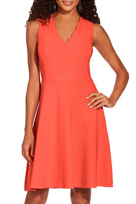 Beyond travel™ scalloped neck dress