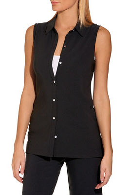 beyond travel™ button down sleeveless top