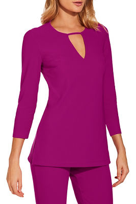 Display product reviews for Beyond travel™ three quarter sleeve keyhole top
