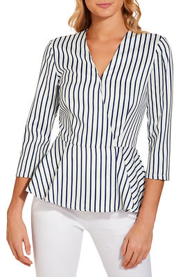 Stripe surplice peplum top