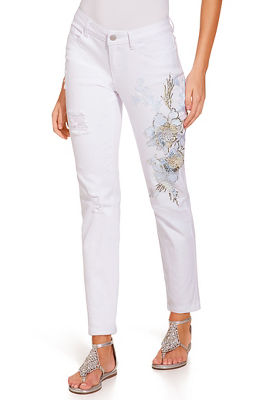 3D metallic flower jean