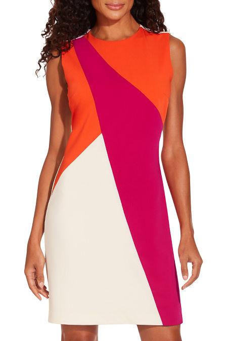 Asymmetric colorblock sheath dress image