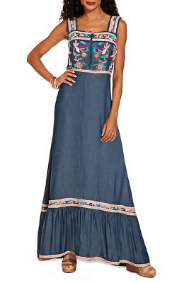 embroidered denim button maxi dress