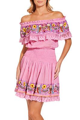 Embroidered off the shoulder smocked dress
