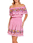 Embroidered Off The Shoulder Smocked Dress Photo