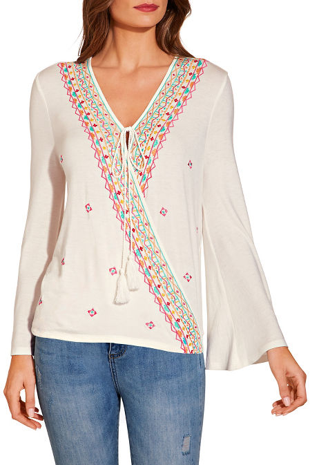 Embroidered surplice peasant top image