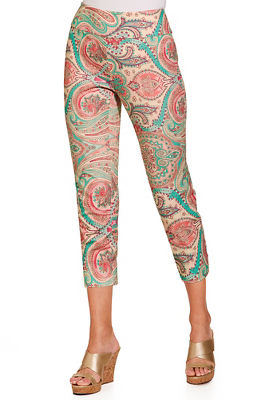Everyday side zip paisley capri pant