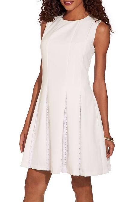 Eyelet pleated dress image