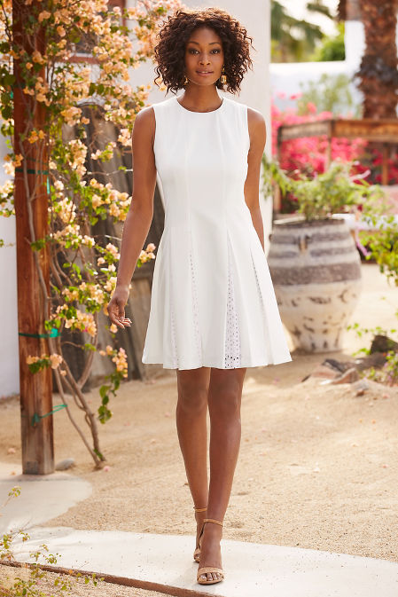 Eyelet pleated dress image