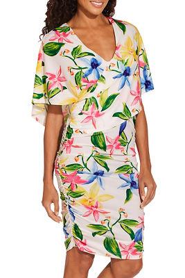 Floral surplice print dress