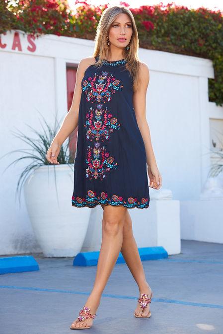 Halter embroidered dress image