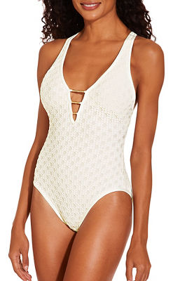 Hardware crochet one piece swimsuit