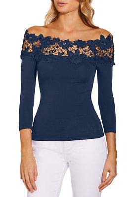 4ddc0544ca46ab Lace detail off the shoulder sweater