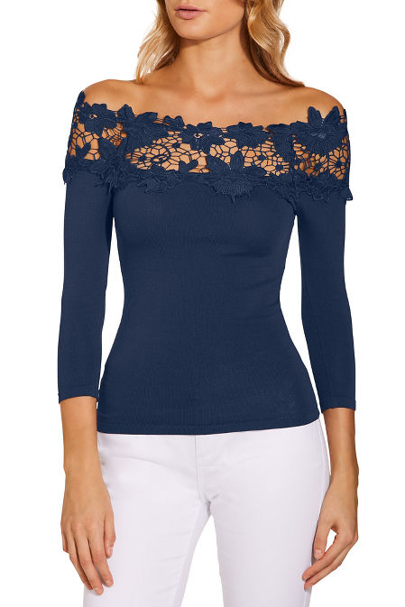 Lace detail off the shoulder sweater image