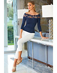 Lace Detail Off The Shoulder Sweater Photo