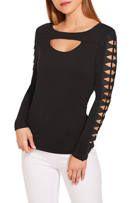 Display product reviews for Lace sleeve detail keyhole top