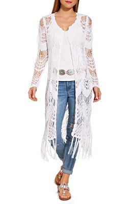 long sleeve fringe crochet duster