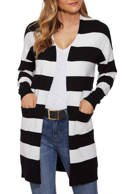 Long sleeve stripe must have cardigan image