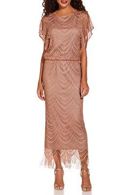 Metallic blouson maxi dress