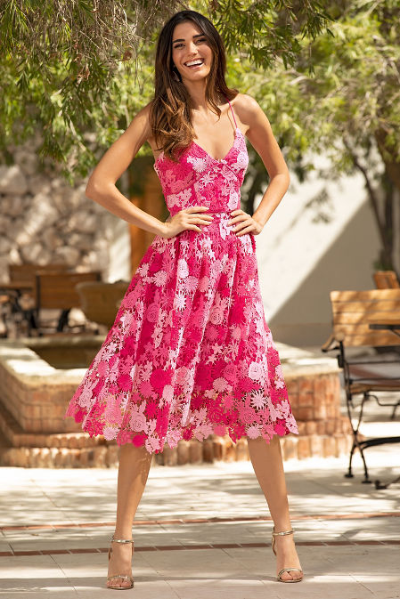 Mix floral fit and flare dress image