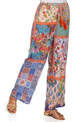 Mixed print tassel detail pant