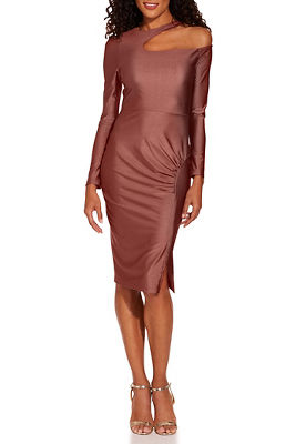 open neck ruched dress