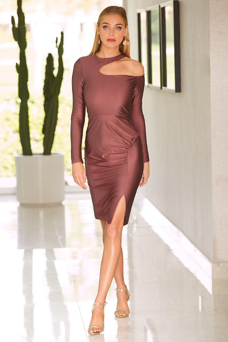 Open neck ruched dress image