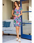 Orchid Print V Neck Dress Photo