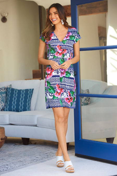 Orchid print v neck dress image