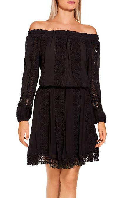 Off the shoulder lace inset dress image