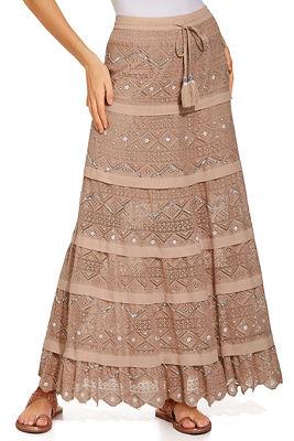 embellished crochet maxi skirt