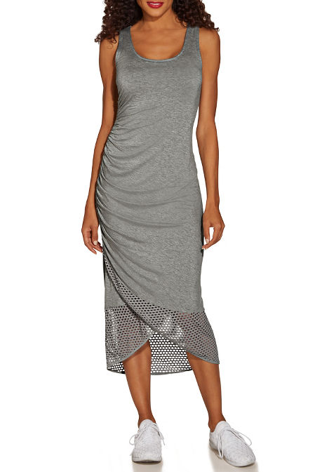 Ruched mesh tank dress image