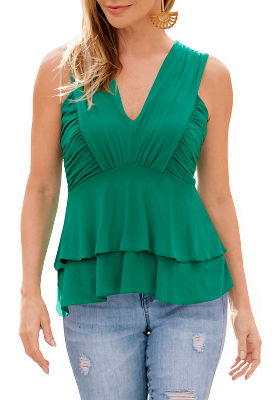 ruched v neck tiered top