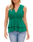 Ruched V Neck Tiered Top Photo
