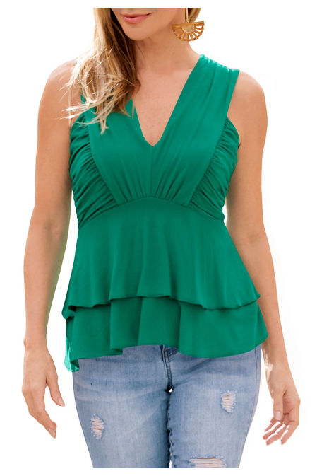 Ruched v neck tiered top image