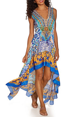 Scroll tile print dress
