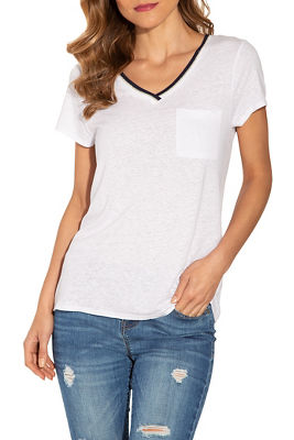 Shimmer v neck pocket tee
