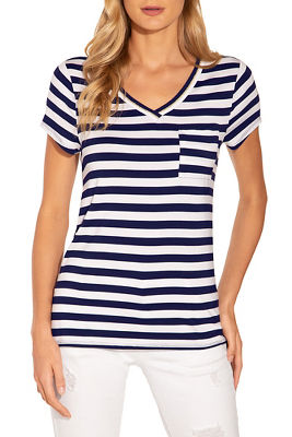 Display product reviews for Shimmer v neck stripe pocket tee