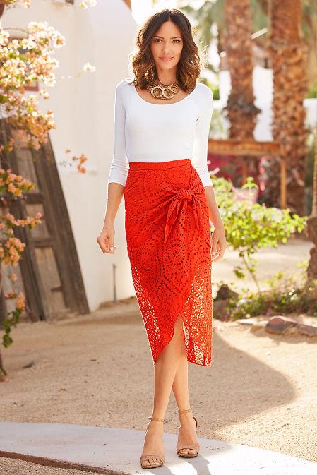 Side tie eyelet skirt image