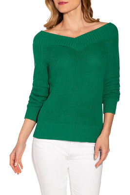 Skimming v neck long sleeve sweater