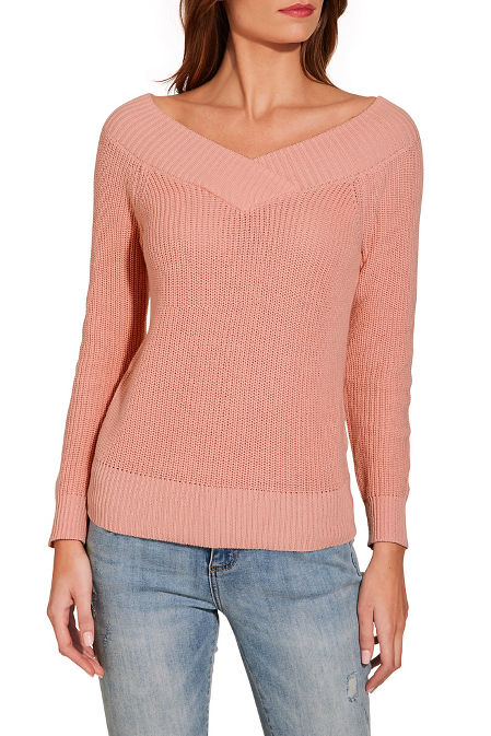 Skimming v neck long sleeve sweater image